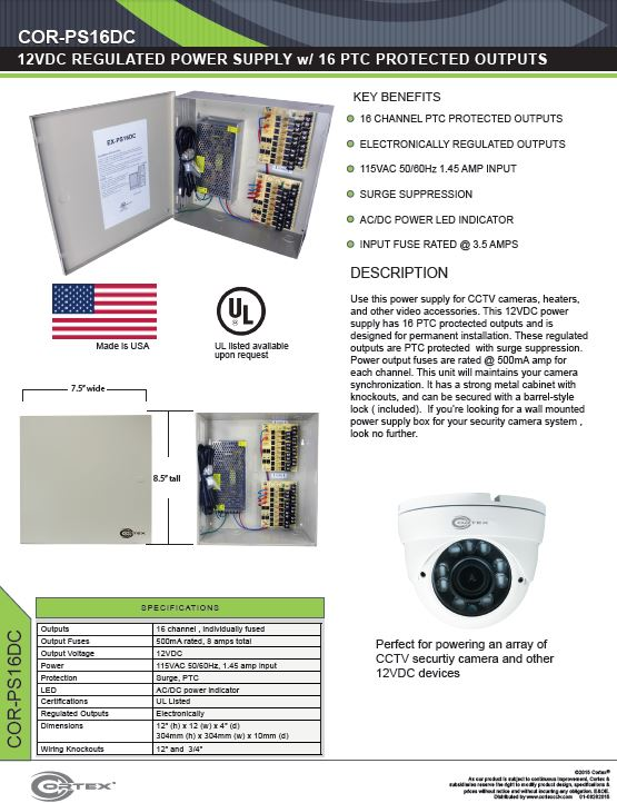 16 Channel security cctv dc power supply specifications for the COR-PS16DC