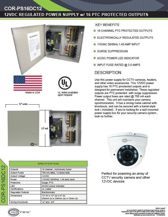 16 Channel security cctv dc power supply specifications for the COR-PS16DC12