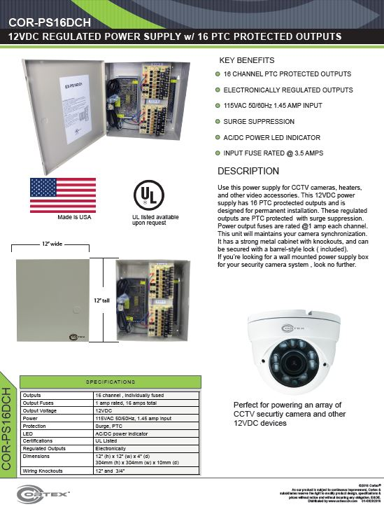 16 Channel security cctv heavy duty dc power supply specifications for the COR-PS16DCH