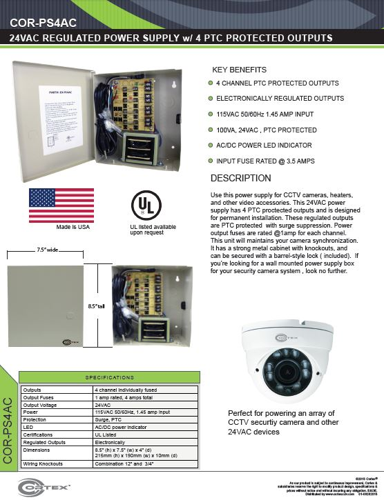 4 Channel security cctv ac power supply specifications for the COR-PS4AC