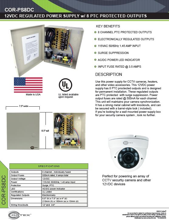 8 channel security cctv dc power supply specifications for the COR-PS8DC