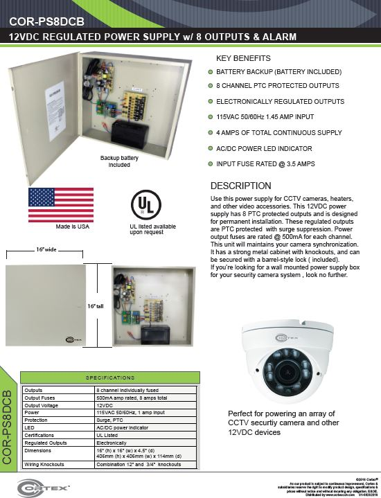 8 channel security cctv dc power supply with battery backup specifications for the COR-PS8DCB
