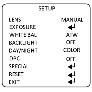 Presents a sub-menu that contains lens shutter settings, AGC, BRIGHTNESS and DVDR option