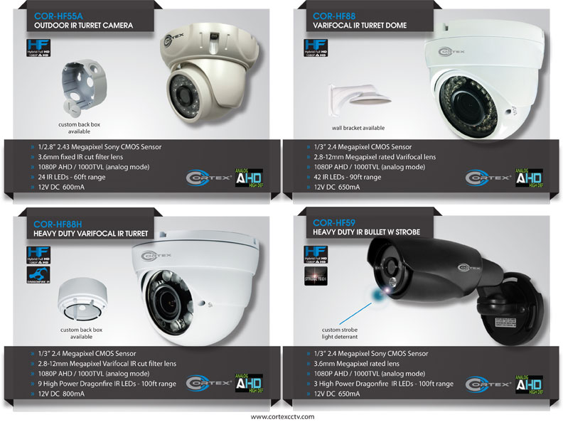 Cortex® AHD (Analog High Definition) security cameras