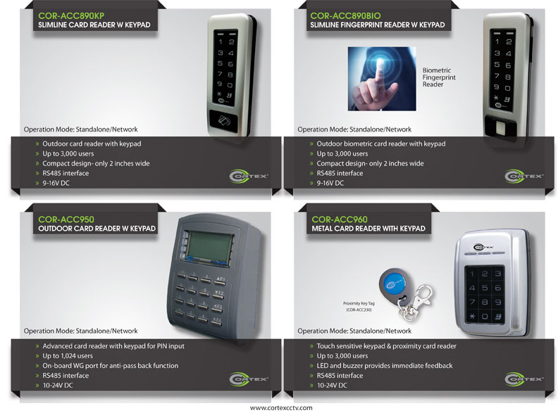 Cortex® surveillance access control IP Network Card readers.