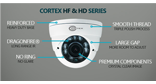 Cortex HF HD series AHD surveillance security dome and bullet featured cameras