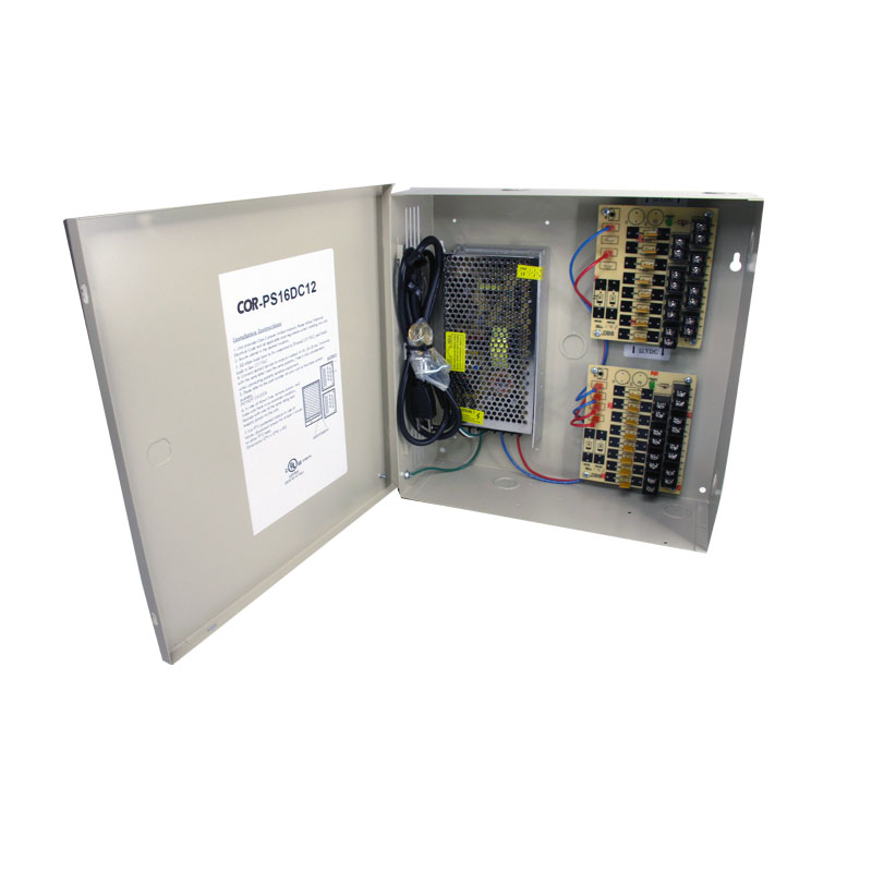 16-channel 12VDC 12amp security surveillance UL listed wall mount power supply COR-PS16DC12 security camera power supplies are housed in a metal cabinet. It has sixteen individually fused outputs and a status LED