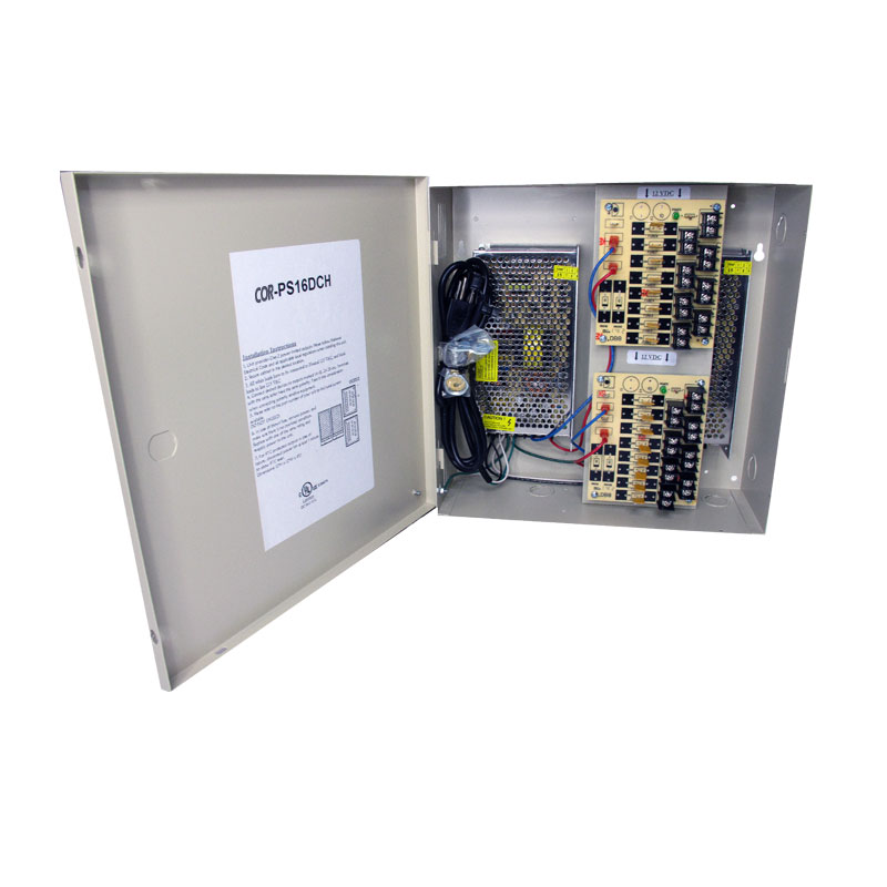 16 channel heavy duty DC UL listed heavy duty  wall mount power supply COR-PS16DCH is housed in a metal cabinet. It has sixteen individually fused outputs and a status LED