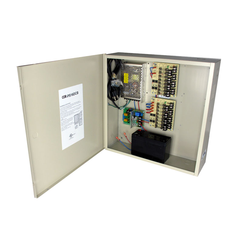 16-Channel 12vDC 16amp UL listed wall mount power supply COR-PS16DCHB w/ Battery backup is housed in a metal cabinet. It has sixteen individually fused outputs and a status LED