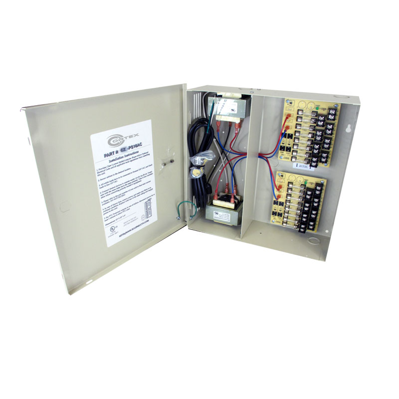 UL listed wall mount 16-channel 24VAC 8amp power supply with sixteen (16) individually fused outputs and plugs into a standard  North American 110/120VAC wall outlet. It is designed for permanent installation.