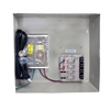 4-Channel Heavy Duty 12vDC 8amp UL listed heavy duty  wall mount power supply COR-PS4DCH is housed in a metal cabinet. It has four individually fused outputs and a status LED