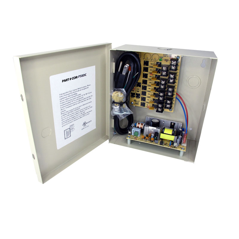 8-Channel 12vDC 4amp UL listed wall mount power supply COR-PS8DC is housed in a metal cabinet. It has eight individually fused outputs and a status LED