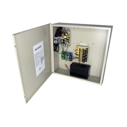 8-Channel 12vDC 8amp UL listed wall mount power supply COR-PS8DCHB with Battery backup is housed in a metal cabinet. It has sixteen individually fused outputs and a status LED