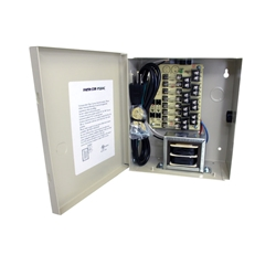 COR-PS8AC 8-Channel 24vAC 4amp Power Supply UL listed wall mount power supply is housed in a metal cabinet. It has eight individually fused outputs and a status LED