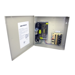 8-Channel 12vDC 8amp UL listed heavy duty  wall mount power supply COR-PS8DCH is housed in a metal cabinet. It has eight individually fused outputs and a status LED