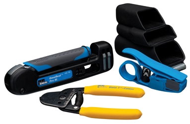Four piece compression tool kit with handy carrying pouch The COR-2055K tool kit contains everything an installer requires to install compression coaxial connectors on coaxial cables like RG-59 and RG-6. Install and connect like a Pro. Our tool kit will easily attach to your utility belt