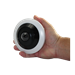 View size compared to hand for the Medallion 5MP IP Indoor Fish Eye Network Camera with 360° panoramic view and PoE