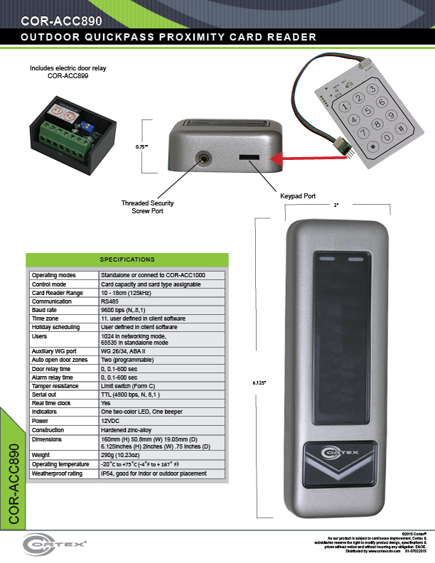 3-way Adaptable Reader-Card, PIN, Card & Pin specifications for access control product COR-ACC890