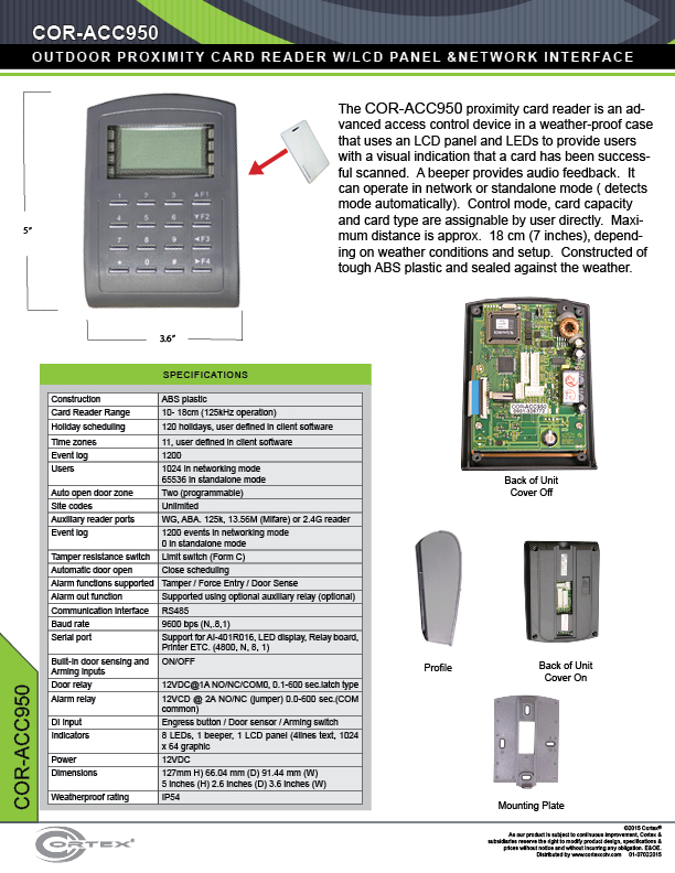 Outdoor Proximity Card Reader with Keypad and LCD Panel from Cortex® specifications for access control product COR-ACC950