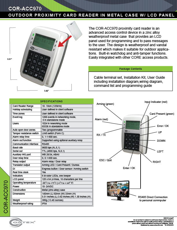 Outdoor Proximity Card Reader with Keypad, LEDs, LCD Display in Metal Case from Cortex® specifications for access control product COR-ACC970