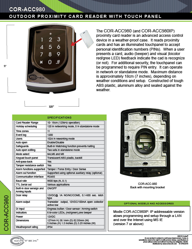 Outdoor Proximity Card Reader w/ Illuminated Keypad from Cortex® specifications for access control product COR-ACC980