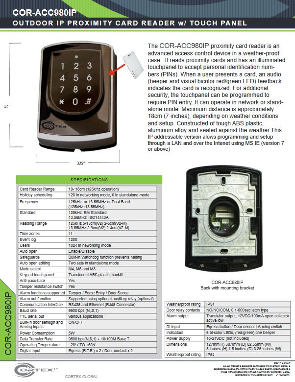 Outdoor IP Proximity Card Reader with Illuminated Keypad from Cortex® specifications for access control product COR-ACC980IP