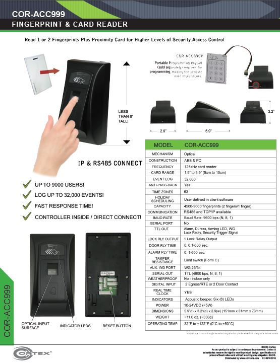 Indoor Biometric Fingerprint Scanner and Card Reader from Cortex® specifications for access control product COR-ACC999