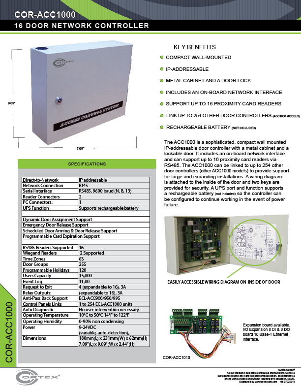 12 Multi-Door Network Control Panel specifications for the COR-ACC1000