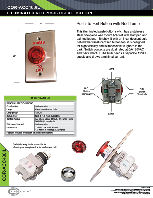 Double Gang Red Push to Exit button specifications for access control product COR-ACC400IL