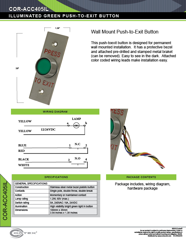 Illuminated Green Push-to-Exit Button specifications for access control product COR-ACC405IL