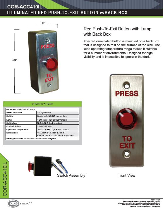 Single Gang Illuminated RED Push-to-Exit Button specifications for access control product COR-ACC410IL