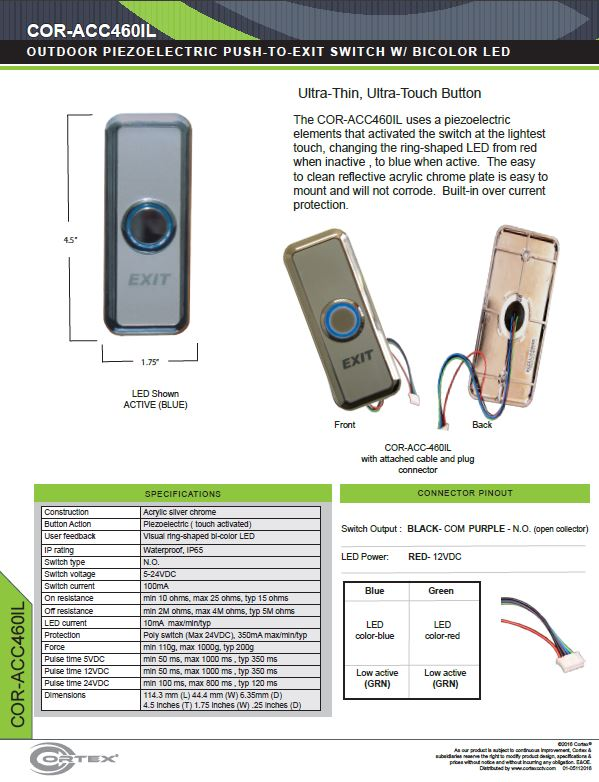 Single Gang Push To Exit Button with Bi-Color LED specifications for access control product COR-ACC460IL