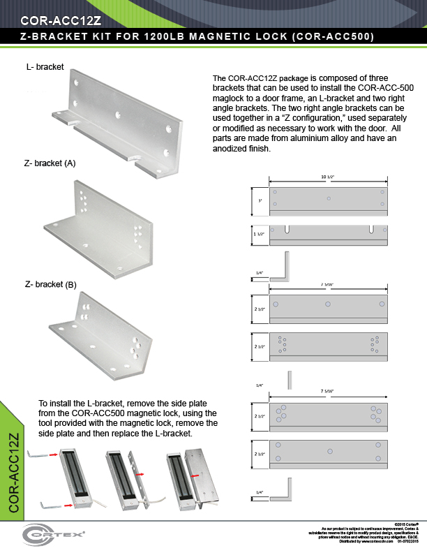 UL-Listed L & Z Bracket Kit for 1200lb Maglocks from Cortex® specifications for access control product COR-ACC12Z