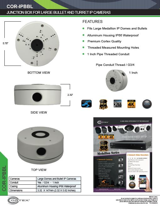 Junction Box for Large Bullet and Turret IP Security Cameras from Cortex® specifications for this accessory product COR-IPBBL