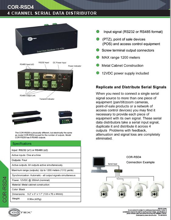 RS485 Serial Data Distributor for PTZ and Access with 4  Signal Outputs and 2 x Inputs from Cortex® specifications for this accessory product COR-RSD4
