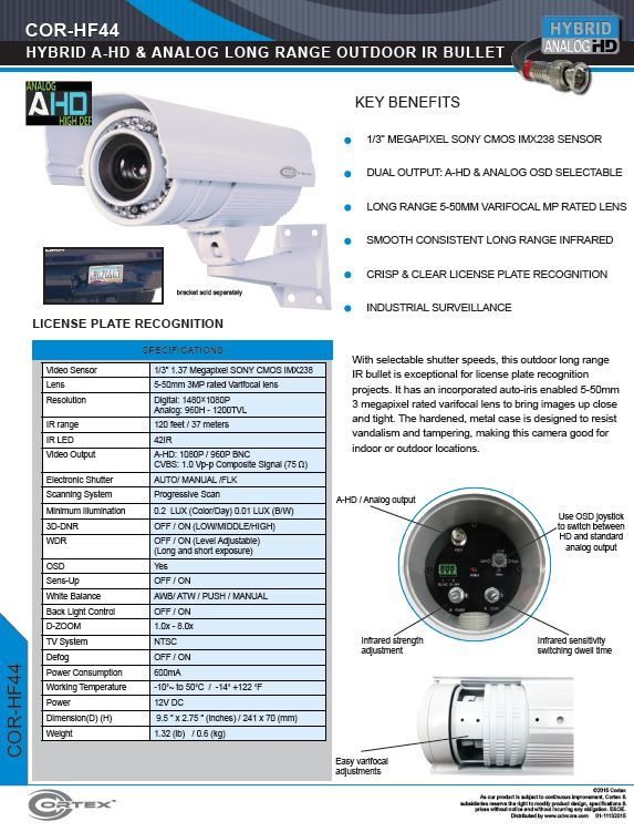 The HF44 Hybrid AHD LPR Security Camera from Cortex for Outdoor with 5-50mm Long Range IR Lens