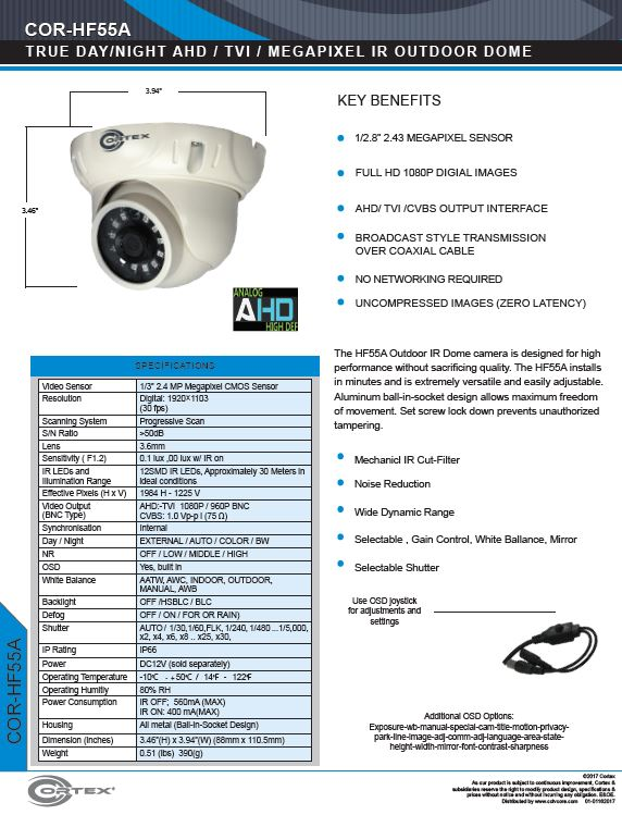 HF55A Outdoor IR Turret Dome camera is designed for high performance without sacrificing quality.