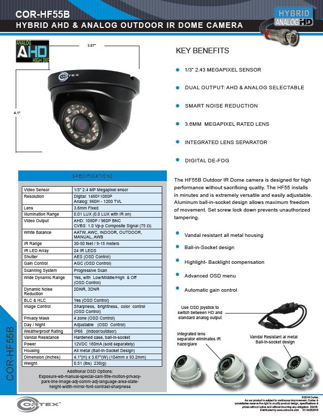 The HF55B Outdoor IR Dome CCTV camera is designed for high performance without sacrificing quality.