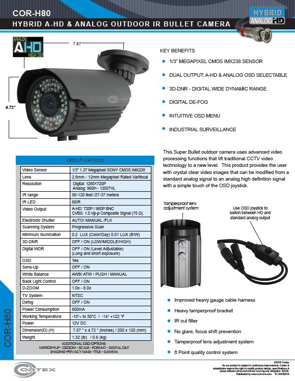 The HF80 Super Bullet outdoor camera uses advanced video processing functions that lift traditional CCTV video technology to a new level