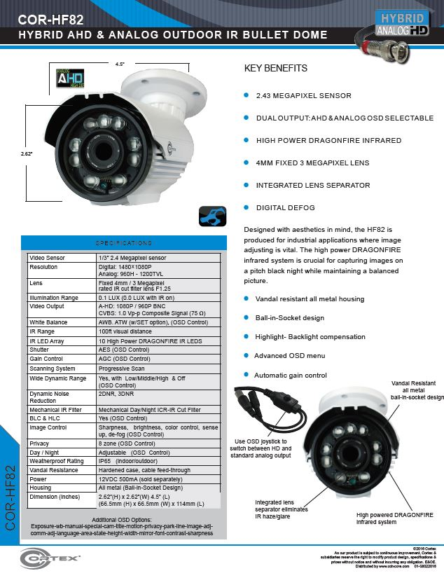 The HF82 Outdoor IR Dome CCTV DragonFire® infrared system is crucial for capturing images on a pitch black night