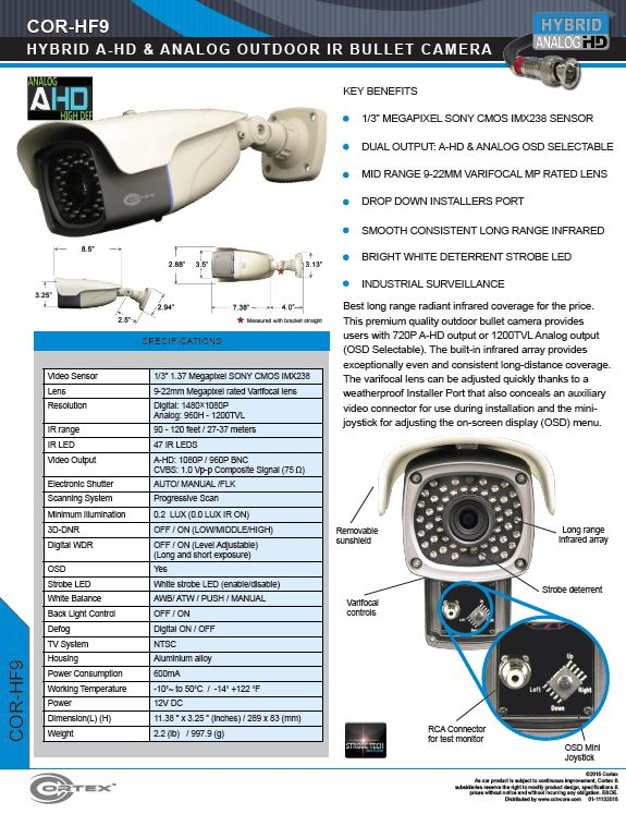 The HF9 Outdoor IR Dome CCTV premium quality outdoor bullet camera provides users with 1080P AHD output or 1200TVL Analog output (OSD Selectable).
