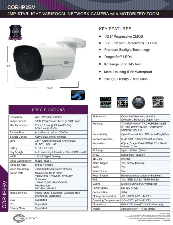 Medallion network camera, 2MP Medallion network camera with 1920(H)×1080(V) resolution, this Medallion IP Bullet Security Camera has 2.8 -12mm Motorized Zoom and Auto Focus