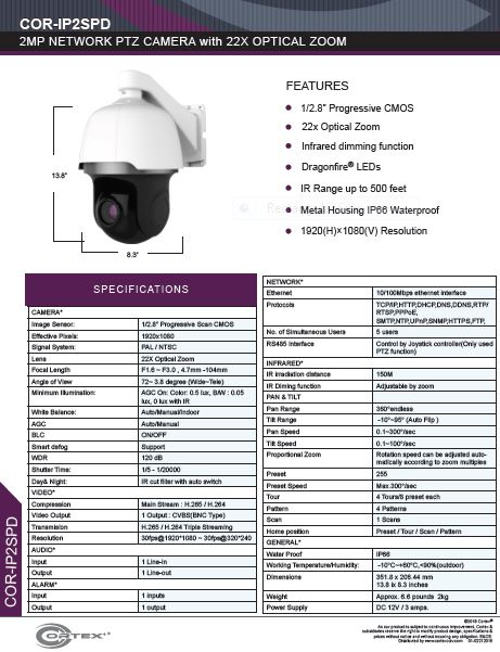 Medallion network camera, 2MP Medallion network ptz camera with 2MP IP  72° 3.8 degree (Wide~Tele) Angle of view