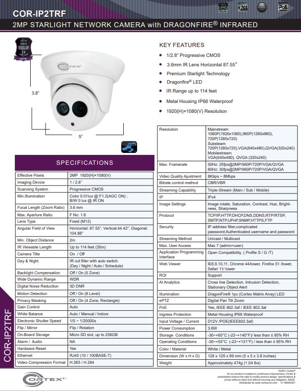 Medallion network camera,2MP Medallion network camera with 1920(H)×1080(V) resolution, this Medallion IP Turret Security Camera has Dragonfire® IR wide angle lens.