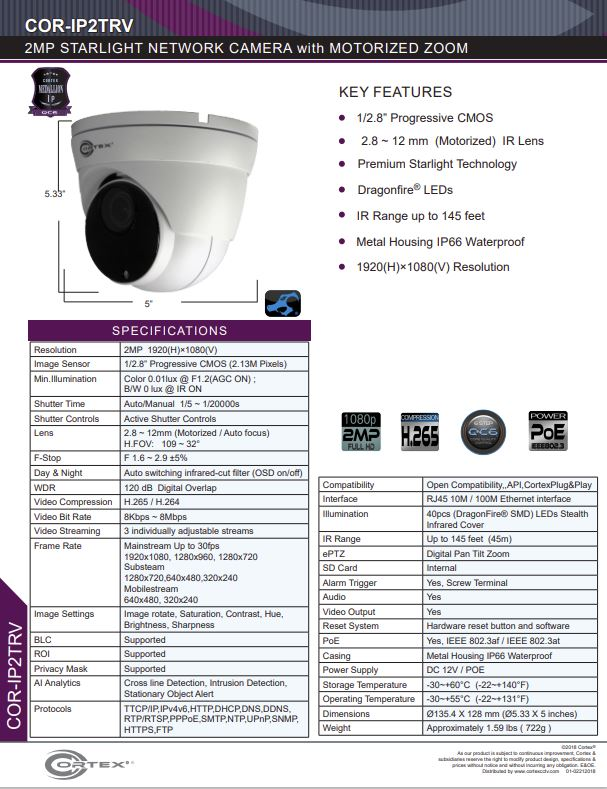 Medallion network camera,2MP Medallion network camera with 1920(H) × 1080(V) resolution, this Medallion IP Turret Security Camera has with 2.8-12mm (Motorized Zoom)