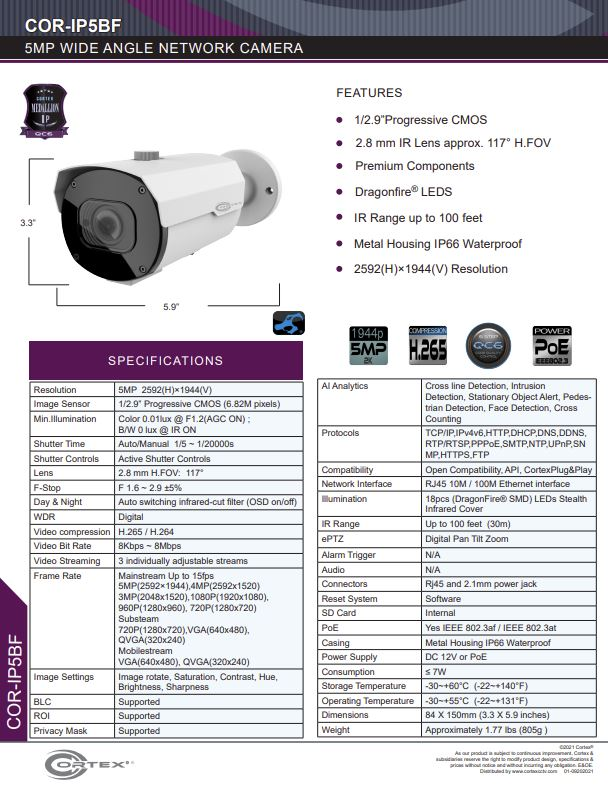 Medallion network camera,5MP Medallion network camera with 1920(H)×1080(V) resolution, this Medallion IP Bullet Security Camera has with a 2.8mm wide angle fixed lens