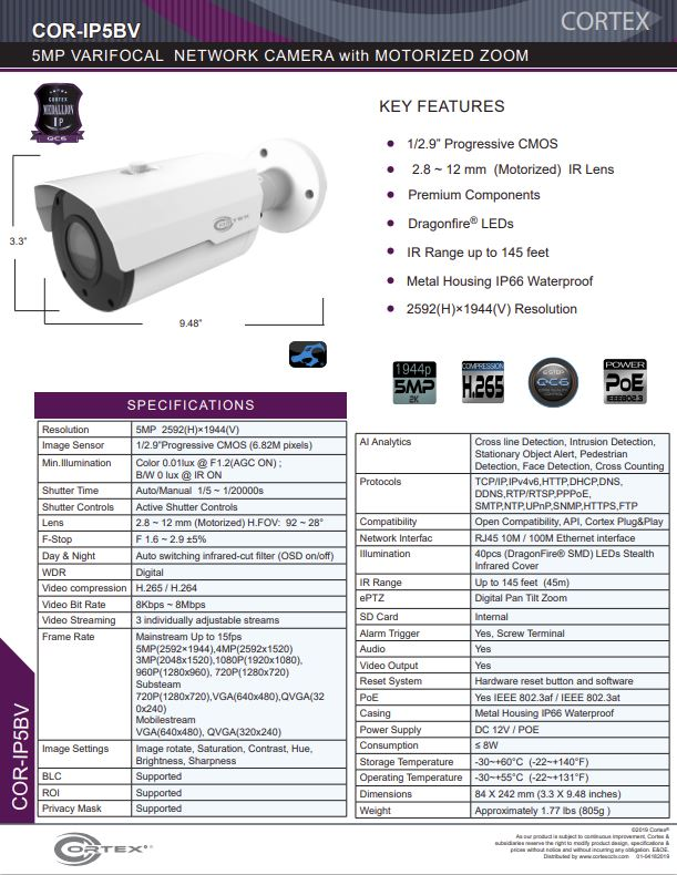 Medallion 5MP (4K) Outdoor Network Camera with 2.8 ~ 12mm (Motorized) lens.