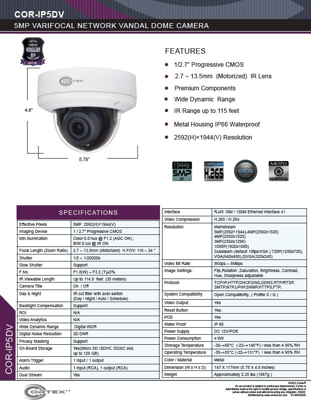 Medallion network camera,2MP Medallion network camera with 5MP IP Outdoor Dome Network Camera with 87-28° Angle of view