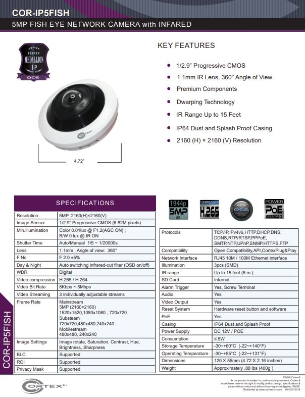 Medallion network camera,5MP IP Outdoor Fish Eye Network Camera with 360° panoramic view and PoE