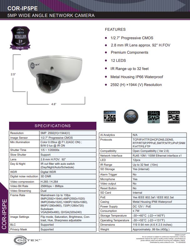 Medallion 5MP (4K) Outdoor Network Camera with fixed wide angle lens.